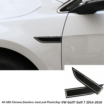 Car ABS chrome Front Machine Side Fender Vent Air Outlet lamp trim part For VW Volkswagen Golf7 Golf 7 2014 2015 2016 2017 2018