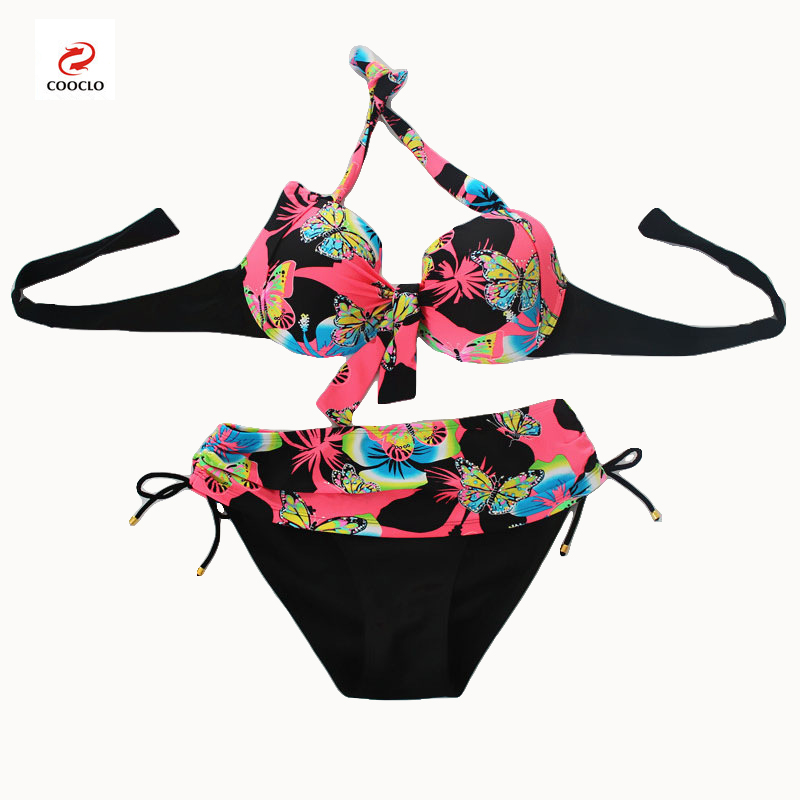 Cooclo Brand Plus Size 7XL Women Bikinis Set Butterfly Printed Push Up Biquini Swimwear Underwire Bathing Beach Cooclo Swimsuits