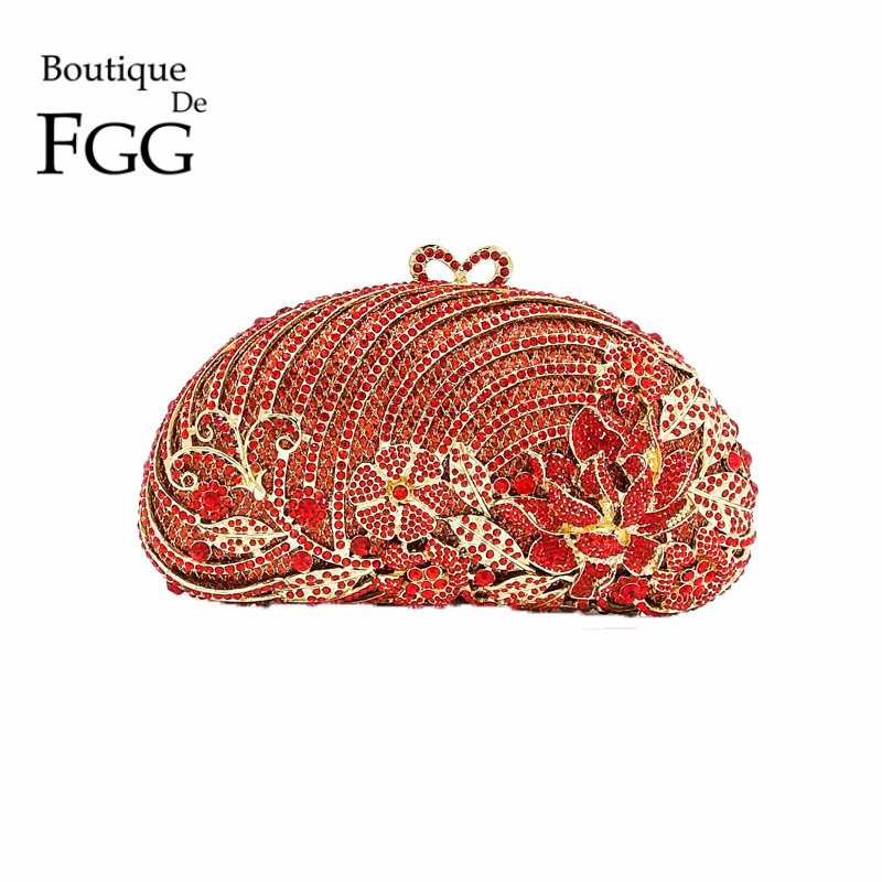 Hollow Out Metal Flower Appliques Red Ruby Women Crystal Purse Evening Bags Clutches Handbag Wedding Party Clutch Bridal Bag gold plating floral flower hollow out dazzling crystal women bag luxury brand clutches diamonds wedding evening clutch purse
