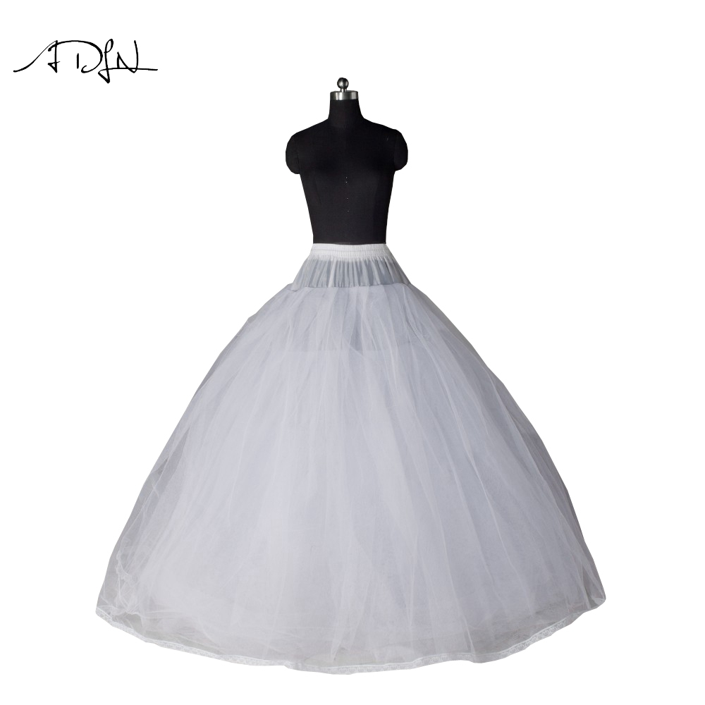Adln ball gown style 7 layer no hoop tulle white petticoat for Tulle petticoat for wedding dress