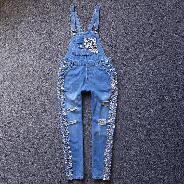 Bottoms European 2019 Early Spring New Fashion Wide-leg Bib Women Loose Diamond-studded Jumpsuit Wild Denim Trousers Jeans