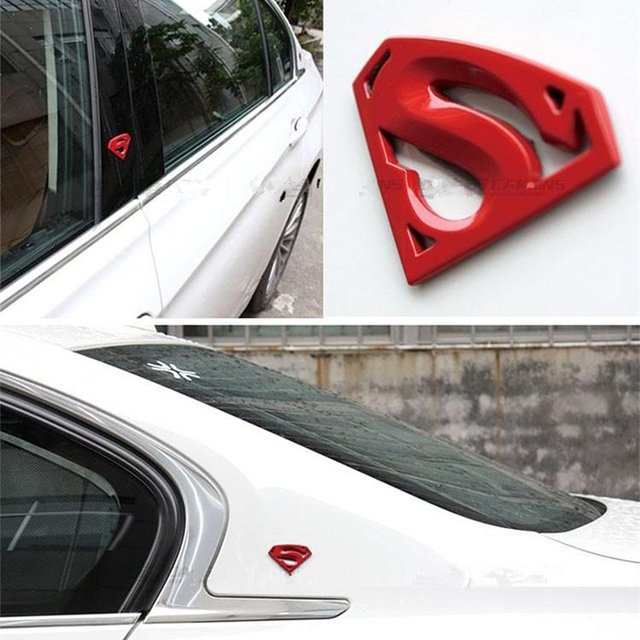 3D 3M Chrome Emblem Auto logo Superman badge Metal Motorcycle accessories Car styling Funny Car Stickers