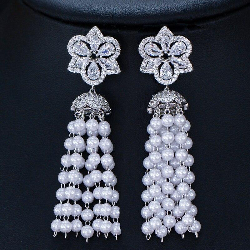 Long gland perle blanc Zircon fleur forme 925 en argent Sterling Dangle boucle d'oreille pour les femmes M02-E0217