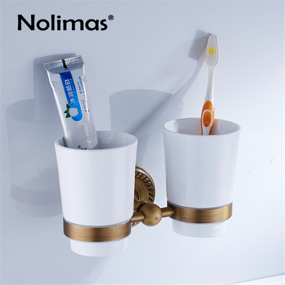 Brass Toothbrush Holders With Two Ceramics Cups Antique Wall Mounted Copper Toothbrush Dual Cup Shelf Bathroom Accessories toothbrush holder wall mounted square base 304 stainless steel and copper toothbrush holders with glass cups polished chrome