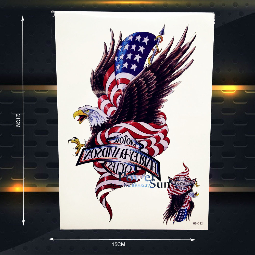 American Flag Temporary Tatttoo Eagle WOmen Body Arm Tattoos Sleeves Hawk Wall Sticker 21x15CM Large Chest Tattoo Armband Totem