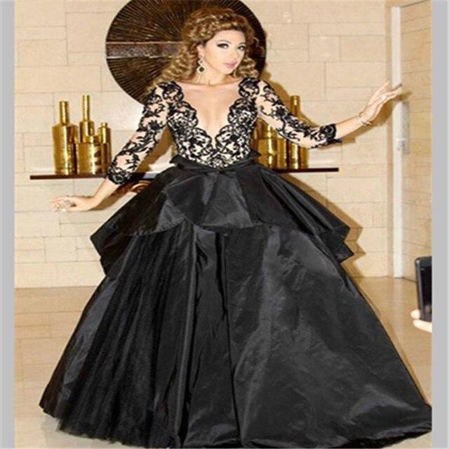 2016 НОВЫЕ Горячие продажи Дешевые Арабский myriam fares платье реальная картина с длинным рукавом бальное платье Черный V-образным Вырезом платья знаменитостей
