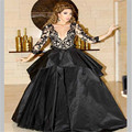 2016 NEW  Hot sale Cheap Arabic myriam fares dress real picture long sleeve Ball gown Black V-neck celebrity dresses