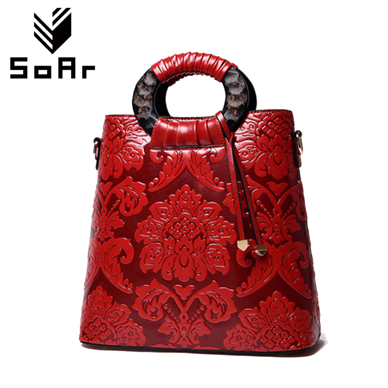 Detail Feedback Questions about SoAr Chinese National Style Women Shoulder  Bags Vintage Leather Handbag Large Famous Brand Floral Handbags Hot Sale  High ... 158c63a8fd189