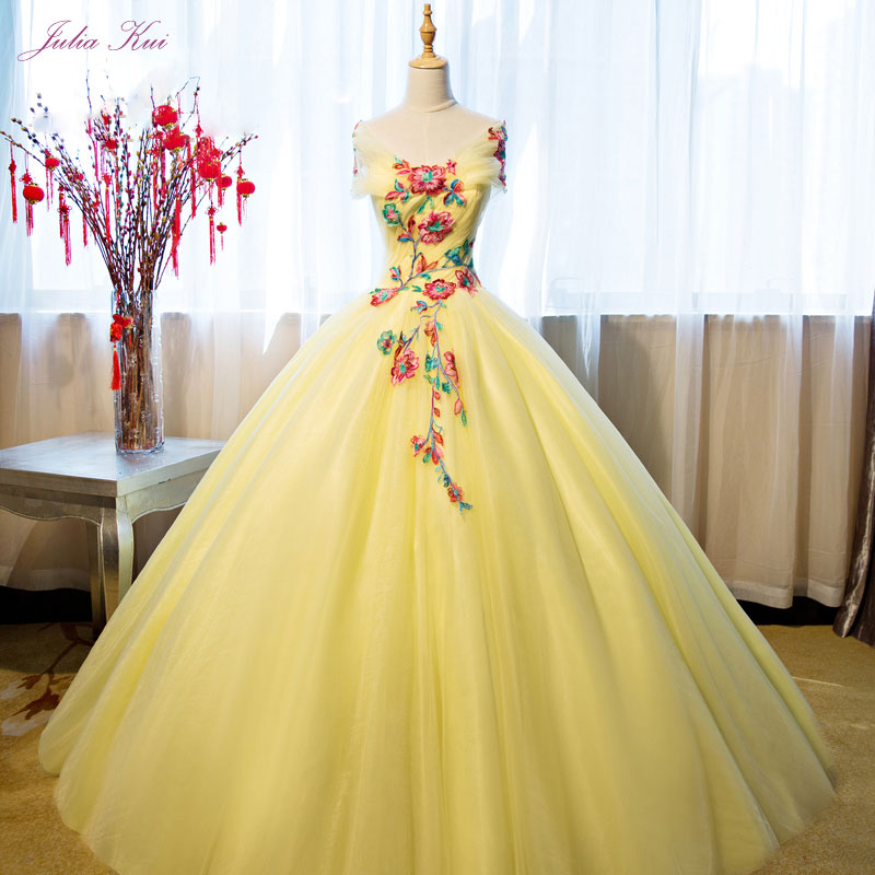 Elegant Embroidery Embellishment Ball Gown Traditional: Julia Kui Vintage Embroidery Organza V Neck Ball Gown
