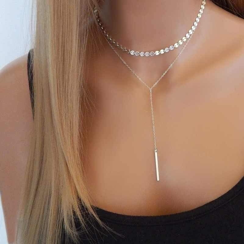 Silver Gold Simple Women Bar Coin Choker Necklace Chain Chocker Neck Jewelry collana Bijoux Femme Joyas mujer Collier ras du cou