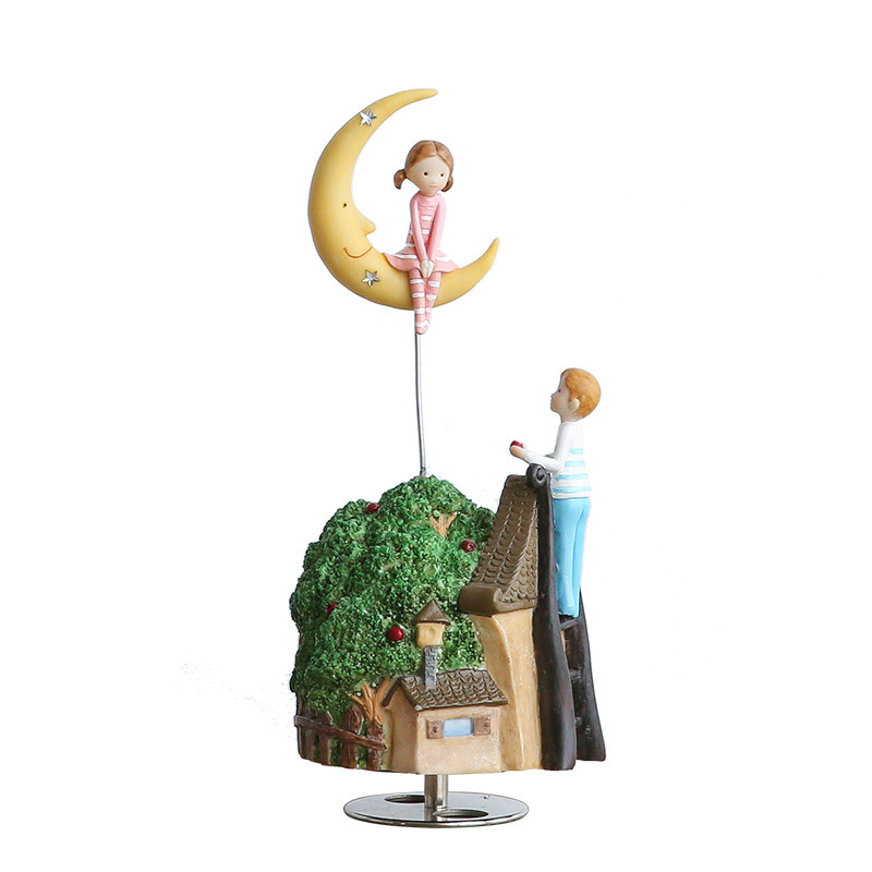 Romanc Fairy Tale Refinement Rotation Music Box House And Home Cartoon Furnishings Personality Creative Resin Artware Gift L869 bricolage model diy production nuts squirrel wood house refinement with led light house and home furnishings birthday gift l481