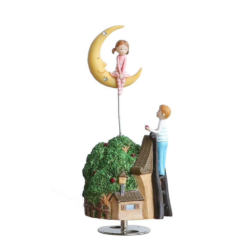 Romanc Fairy Tale Refinement Rotation Music Box House And Home Cartoon Furnishings Personality Creative Resin Artware Gift L869 creative cartoon 3d electric music