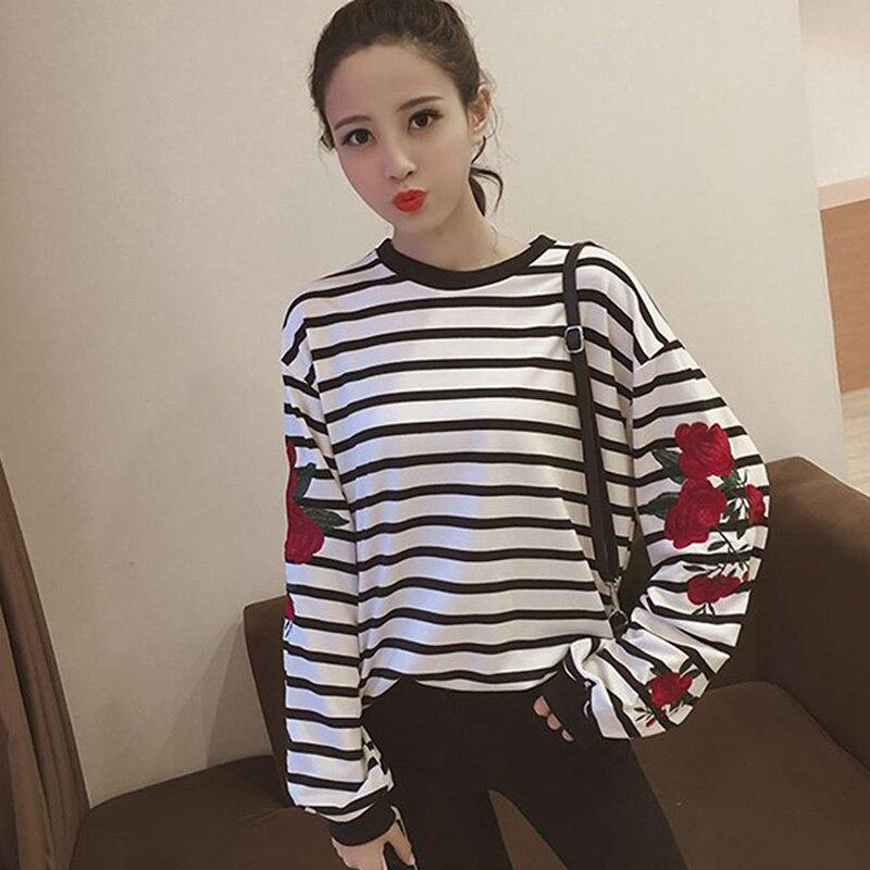 Harajuku Hoodies Roses Embroidery Lantern Sleeve Loose Striped Women Sweatshirt Pullovers Girl Casual Autumn Tops DP989198