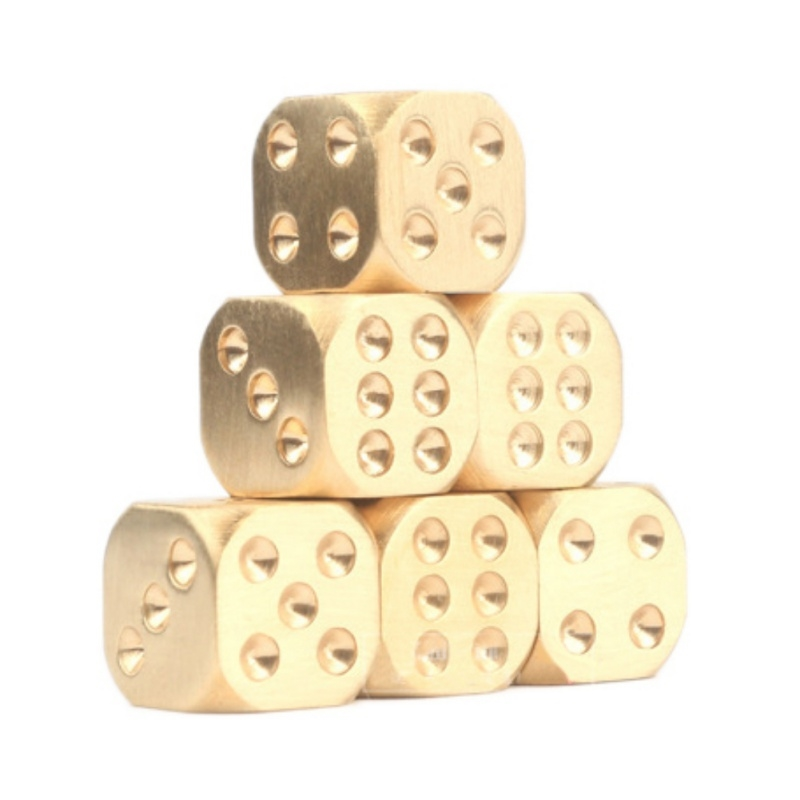 6pcs Brass Dices Set Polishing Solid Portable Game Dice Entertainment Accessories for Club Bar gis chino para chinches