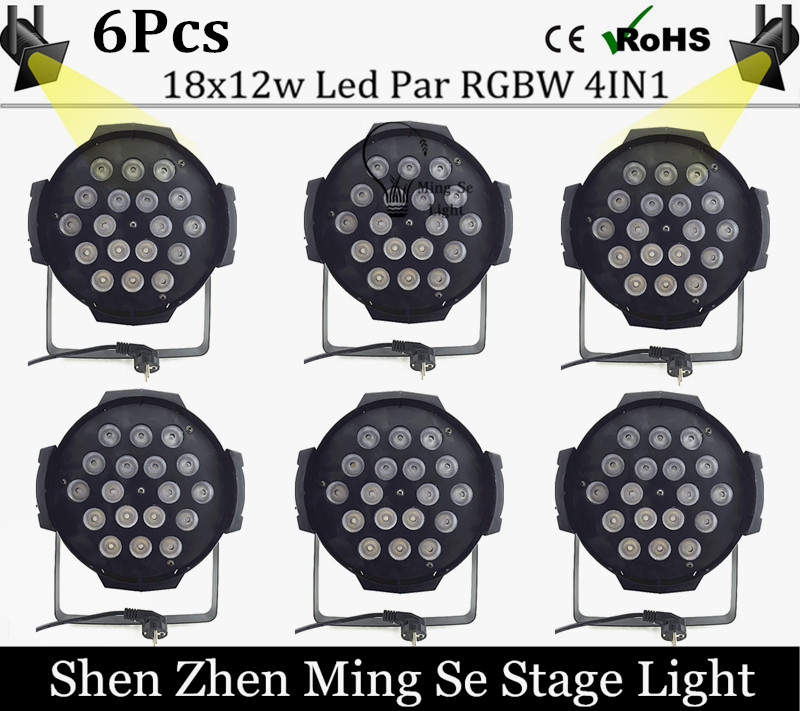 Best price 6Pcs/lots  18x12w led Par lights RGBW 4in1led dmx512 disco lights professional stage dj equipment fast russia shipping 7x12w led par lights rgbw 4in1 flat par led dmx512 disco lights professional stage dj equipment