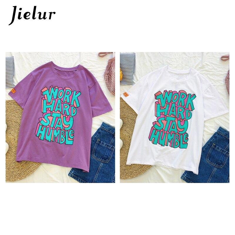 5410debd6814c3 Jielur Hipster Letter Print Purple T Shirt Femme Korean Style Harajuku  Tshirt Women Casual M XXL Loose Summer Top White Dropship-in T-Shirts from  Women s ...
