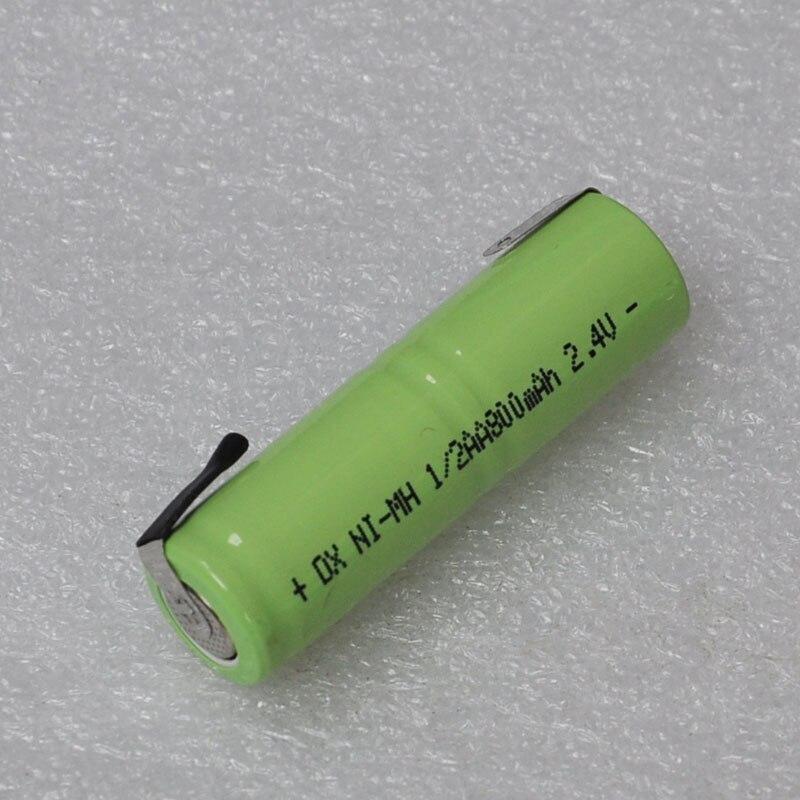 NOVO 2.4 V 1/2AA bateria recarregável 800 mah 1/2 AA ni-mh nimh celular com abas de solda pinos para barbeador elétrico de barbear escova de dentes