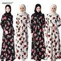 ML Печать Цветы Женщины Мусульманин Длинное Платье Исламская Взрослых Поклонения Abayas Дубай Малайзия Турецкий Леди Одежда Мусульманская Девушка Абая