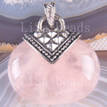 Free Shipping New without tags Fashion Jewelry 32x42MM Oval Bead Natural Pink Crystal Pendant 1Pcs K1141