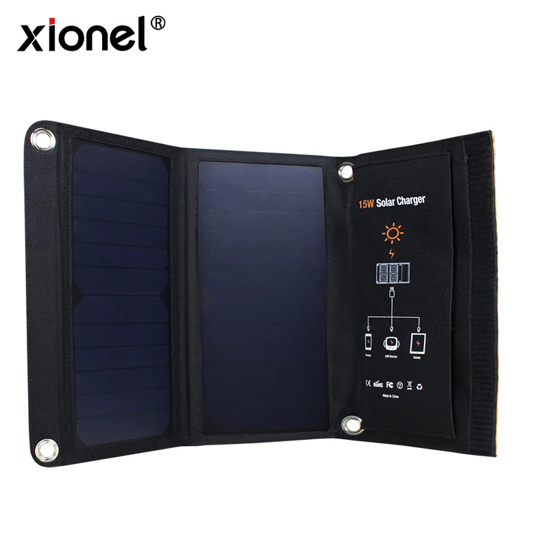 цена на Xionel 15W Portable Solar Charger Waterproof 5V Solar Panels Dual USB Ports Solar Charger Power Bank for Mobile Iphone