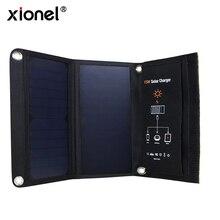 Xionel 15 W Paneles Solares Sunpower Cargador Solar Portátil A Prueba de agua Dual Puertos USB Cargador Solar Power Bank para El Iphone Móvil
