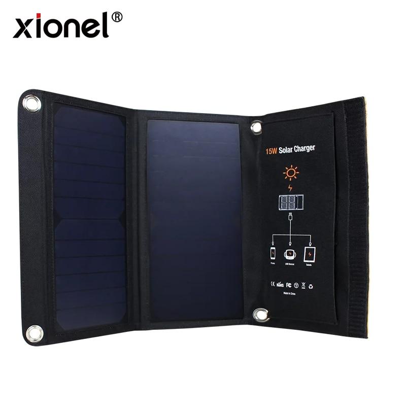 Купить на aliexpress Xionel 15 Вт портативное солнечное зарядное устройство Водонепроницаемая солнечная панель с двумя портами usb Солнечное зарядное устройство power...