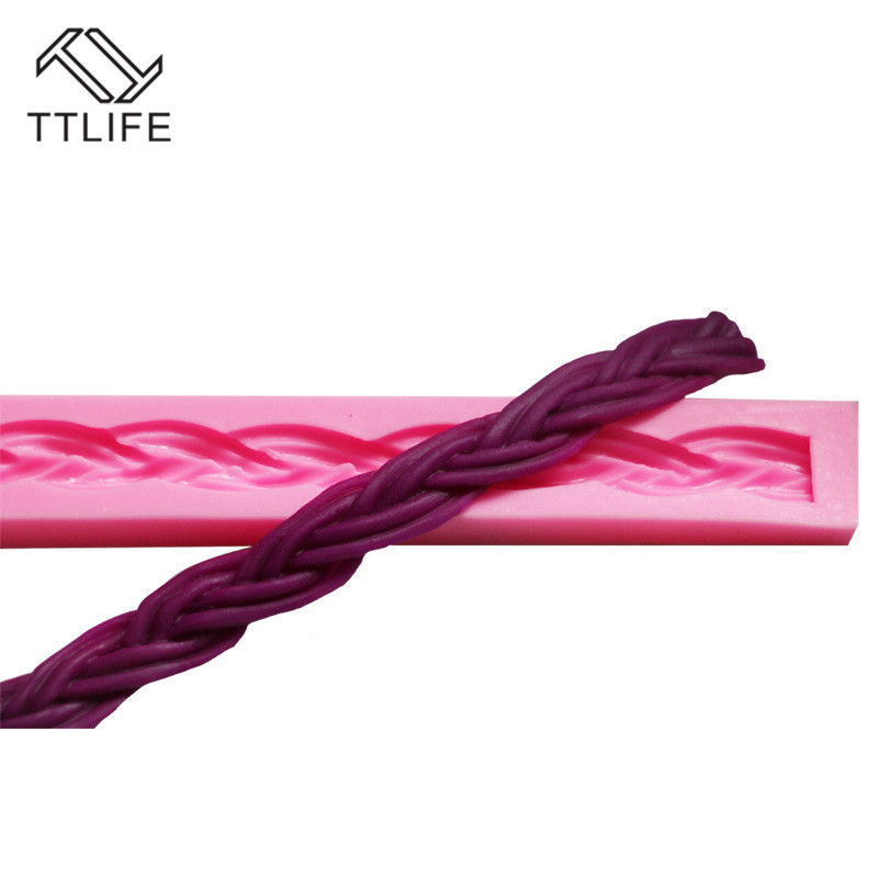 TTLIFE Twist Texture Rope Cake Border Silicone Mold Fondant Cake Pastry Decorating Tools Gumpaste Dessert Chocolate Baking Mould