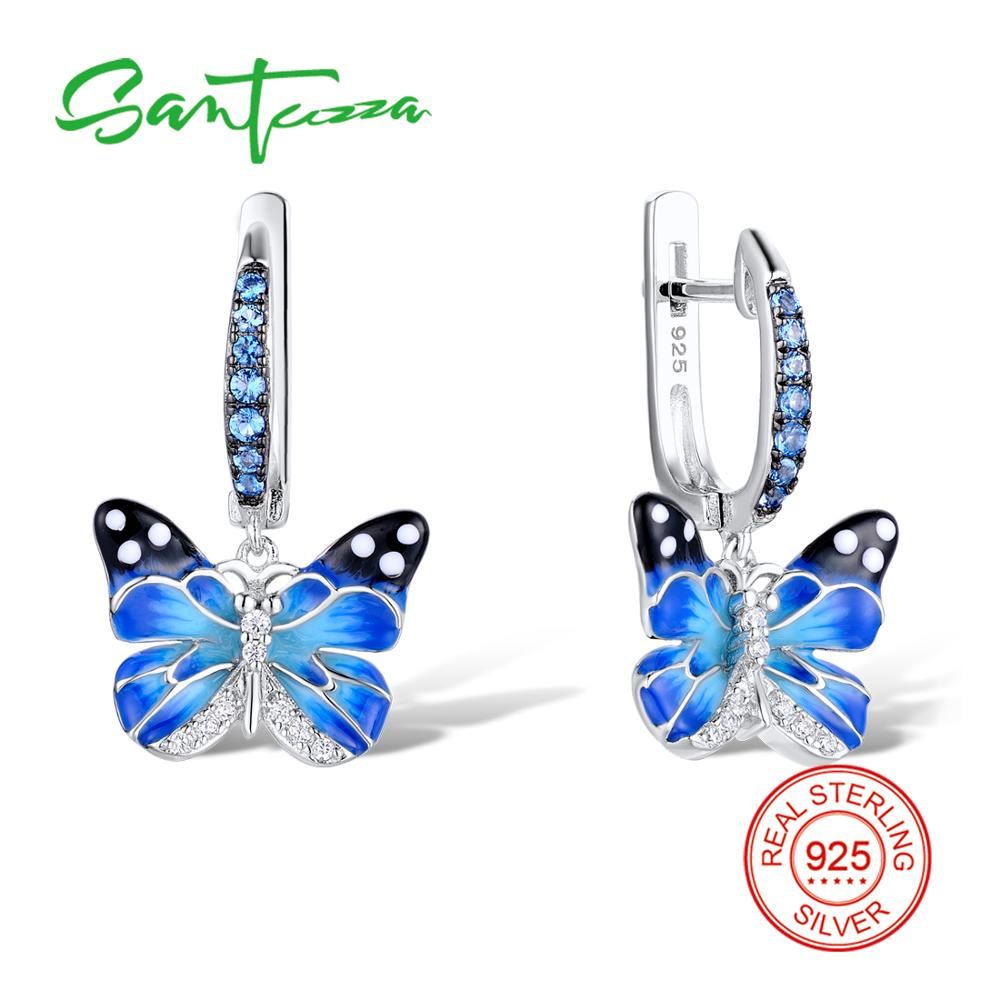 SANTUZZA Silver Earrings For Women 925 Sterling Silver Dangle Earrings Silver 925 Cubic Zirconia brincos Party Jewelry Enamel   SANTUZZA Silver Earrings For Women 925 Sterling Silver Dangle Earrings Silver 925 Cubic Zirconia brincos Party Jewelry Enamel