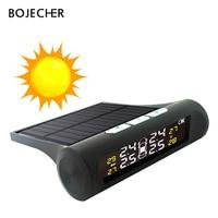 BOJECHER Smart Car TPMS Sensor Tyre Pressure Monitoring System solar power charger LCD 4 External / Internal Sensor Alarm System