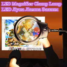 New lighted magnifying glass clip-on desktop LED desk lamp reading large lens with clip diamond painting tool