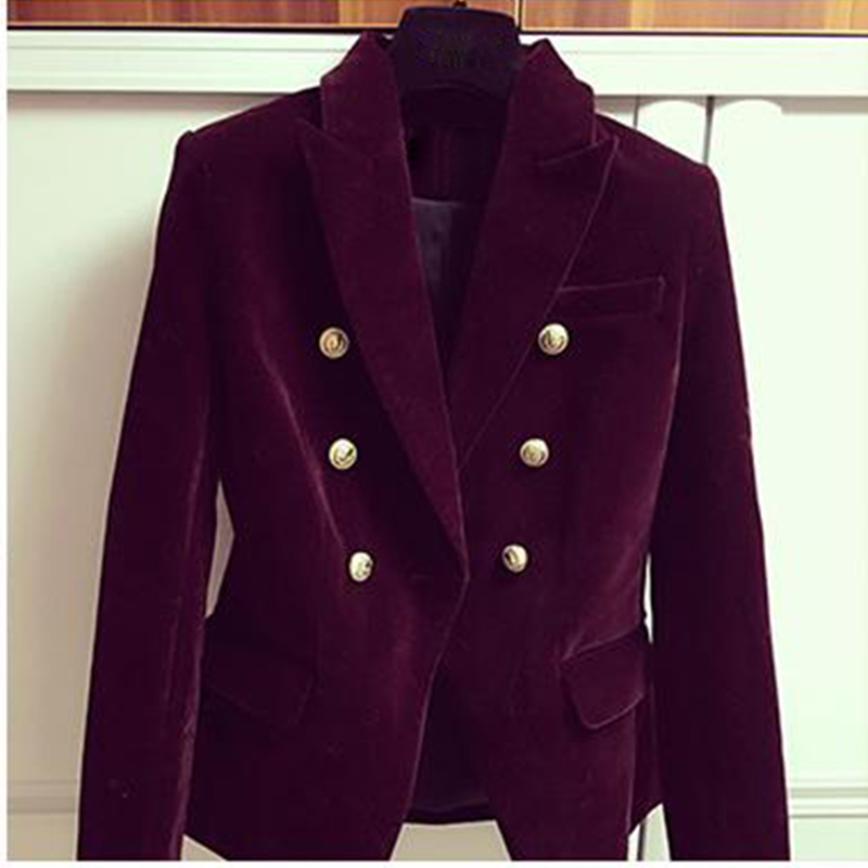 HIGH QUALITY Newest Fashion 2019 Designer Blazer Women's Double Breasted Lion Buttons Velvet Blazer Coat