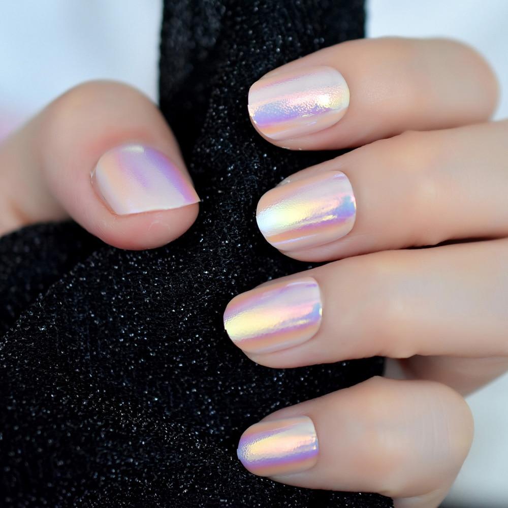 24pcs Unicorn Chrome Press On Fake Nails With Designs Iridescent Pink Short Full False Nails Acrylic With Glue Sticker 12 Sizes