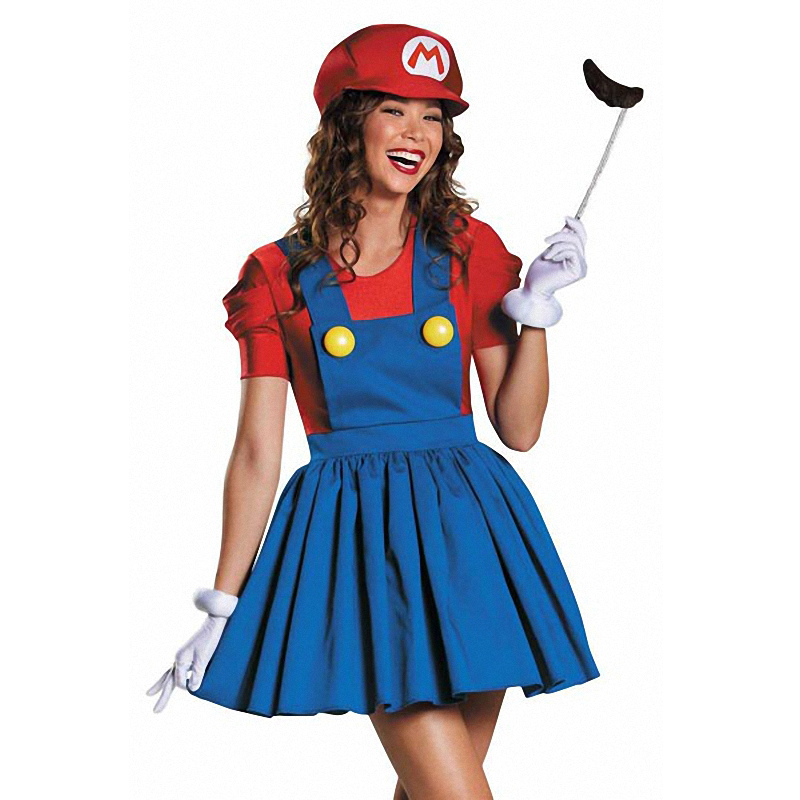 super mario brothers deluxe d guisement femmes mario jupe version adulte costume dans costumes. Black Bedroom Furniture Sets. Home Design Ideas
