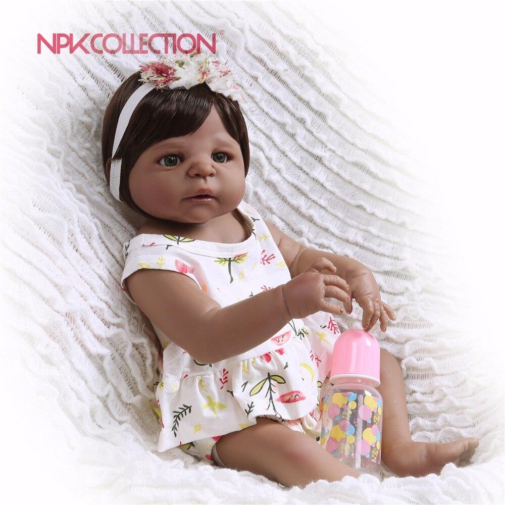 NPK 57CM black pink Full Body Silicone Girl Reborn Babies Doll Toys Princess Babies Doll Wig