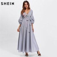 SHEIN Multicolor Three Quarter Length Sleeve V Neck High Waist A Line Maxi Dress Flower Patch