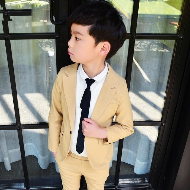 77cb6fde2 Spring Baby Boys Beige Suit for Wedding Boys Brand Design 2Pcs Boys Blazer  Clothing Set Children School Suit