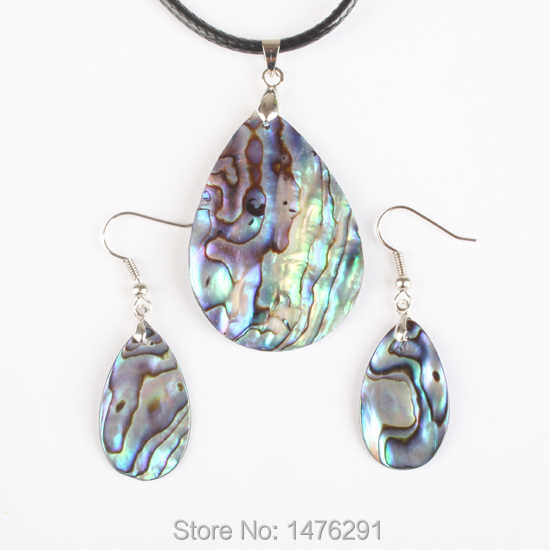 New Natural Abalone Shell Water Drop Blue Thin Beads Pendant Necklac & Earring 1 Set