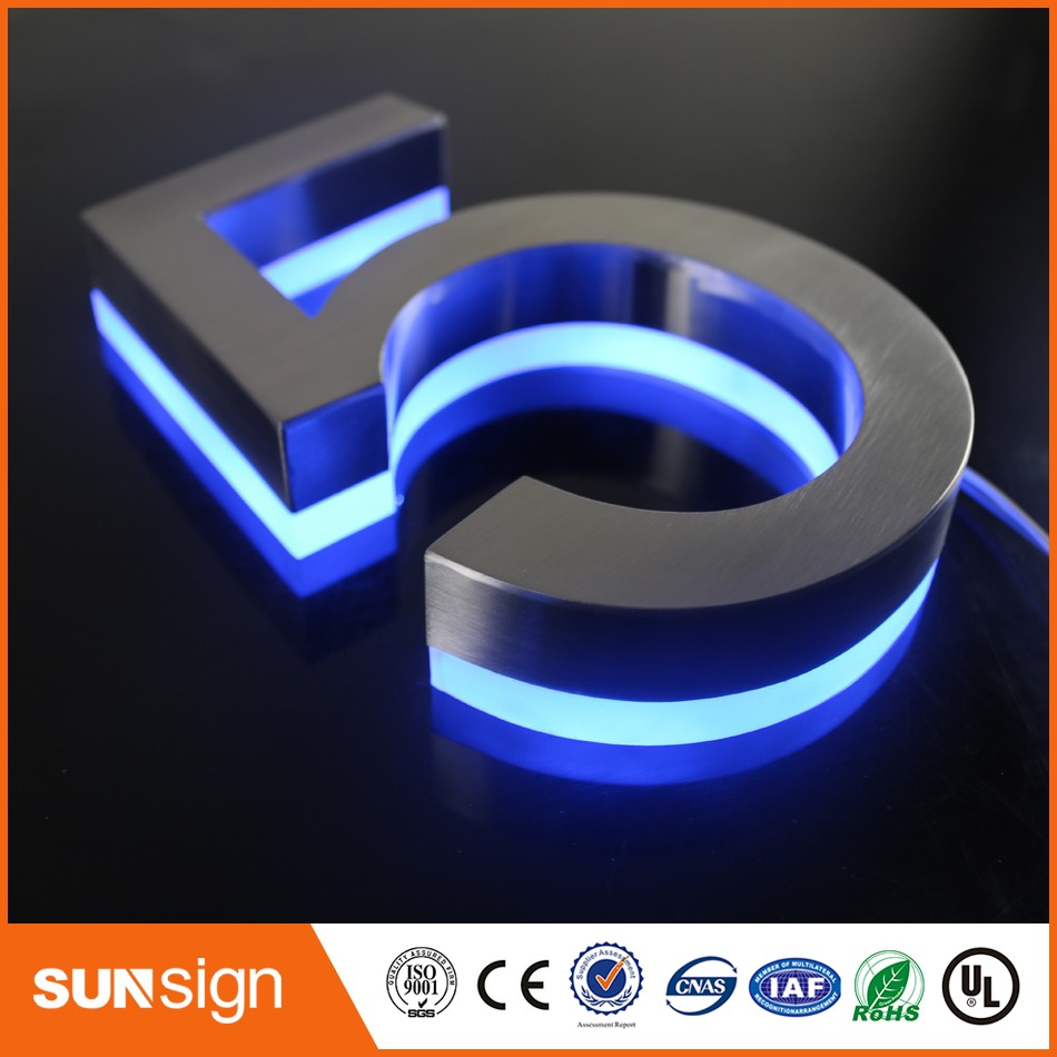 H15cm One Letter Custom Stainless Steel Backlit Letters Apartment LED Numbers Address Numbers Waterproof Outdoor Led Signs