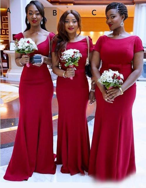 2017 Elegant Red African Bridesmaid Dresses Satin Short Sleeves Maid Of Honor Backless Long Wedding