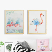 D Romantic Indoor Decorative Wall hanging Flamingo painting with LED Light wall hanging party decor Birthday Wedding Decor Gifts