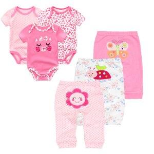 Image 5 - 6ชิ้น/ล็อตแขนสั้นRomper + กางเกงการ์ตูนเสื้อผ้าเด็กชุด2020สาวฤดูร้อนเด็กชุดเด็กทารกชุดเด็กเสื้อผ้า