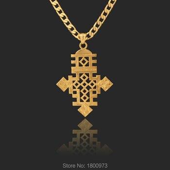 e63834e27deb Cruz etíope gran Pendant18k lleno de oro plateado collar de cadena Etiopía  artículo joyería africana de los hombres de las mujeres