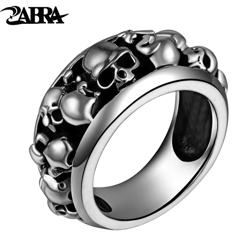 Gothic 100% Real 925 Sterling Silver Ring for Men with Many Skulls Boys Vintage Cool Punk Style Thai Silver Skeleton Rings Band