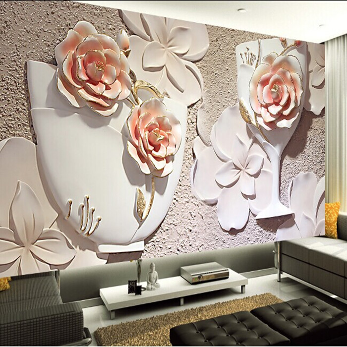 Wall Decor Design Ideas: Wholesale 3d Rose Wall Mural Wallpaper For Sofa Background
