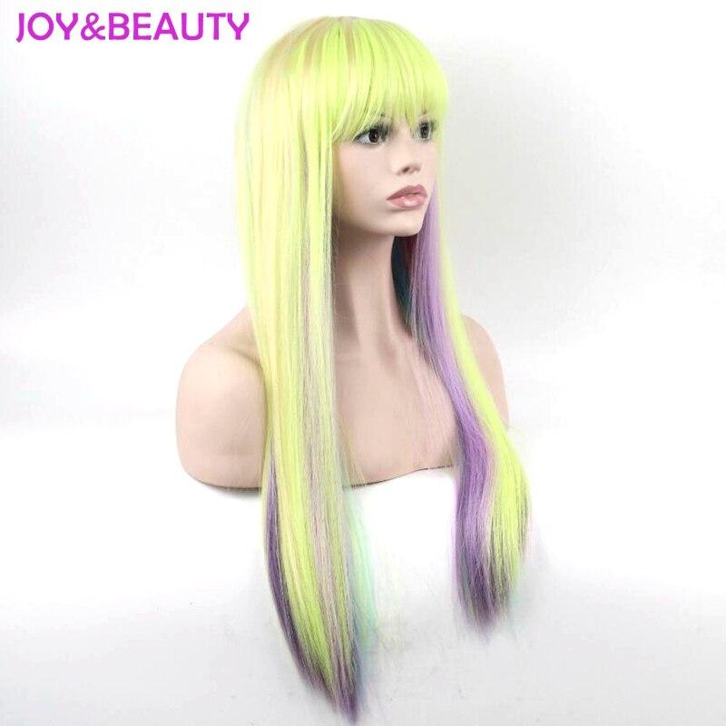 Glädje och skönhet Lång Afro Kinky Rak Regnbågsfärg Paryk - Syntetiskt hår - Foto 2