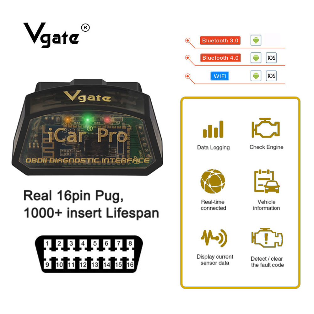 Vgate iCar Pro OBD2 ulme 327 Bluetooth 4,0 auto diagnose obd obd2 scanner für IOS/android PK elm327 v 1,5 odb2 scaner automotivo