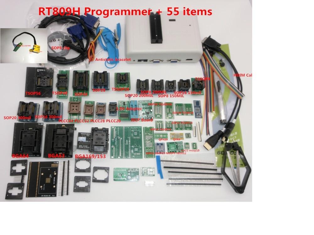 Free shipping Original RT809H EMMC Nand Programmer TSOP56 TSOP48 EDID Cable ISP Header01 VGA HDMI BGA63