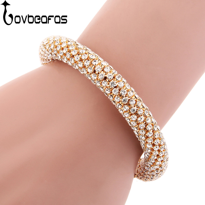 LOVBEAFAS Fesyen Mewah Cuff Gelang & Bangles Untuk Wanita Crystal berlian buatan Vintage Gelang Aksesori Barang Kemas Denda