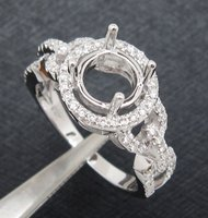 Round 6 5mm Solid 14k White Gold Natural Diamond Semi Mount Engagement Ring Free Shipping