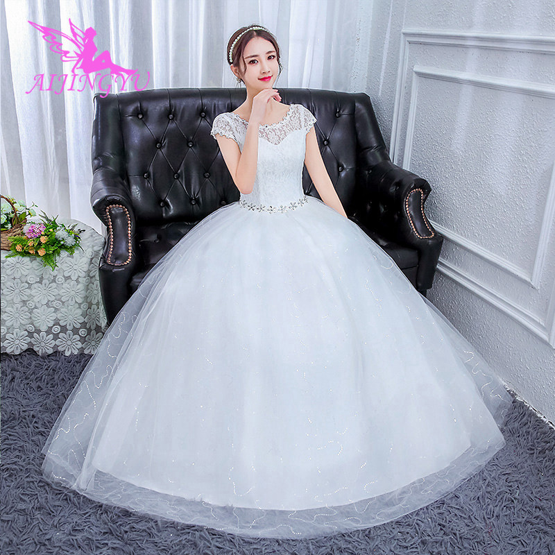 AIJINGYU 2018 Beauty Free Shipping New Hot Selling Cheap Ball Gown Lace Up Back Formal Bride Dresses Wedding Dress FU160